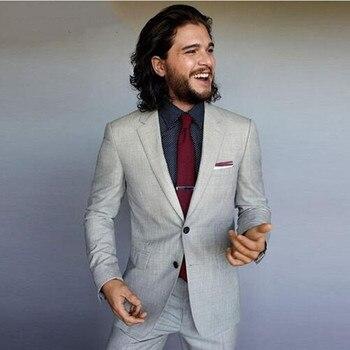 Light Grey Men Suit Prom Wear Formal Business Party Suits Slim Fit Groom Tuxedos Handsome Best Men Wedding Suits (Jacket+Pants)
