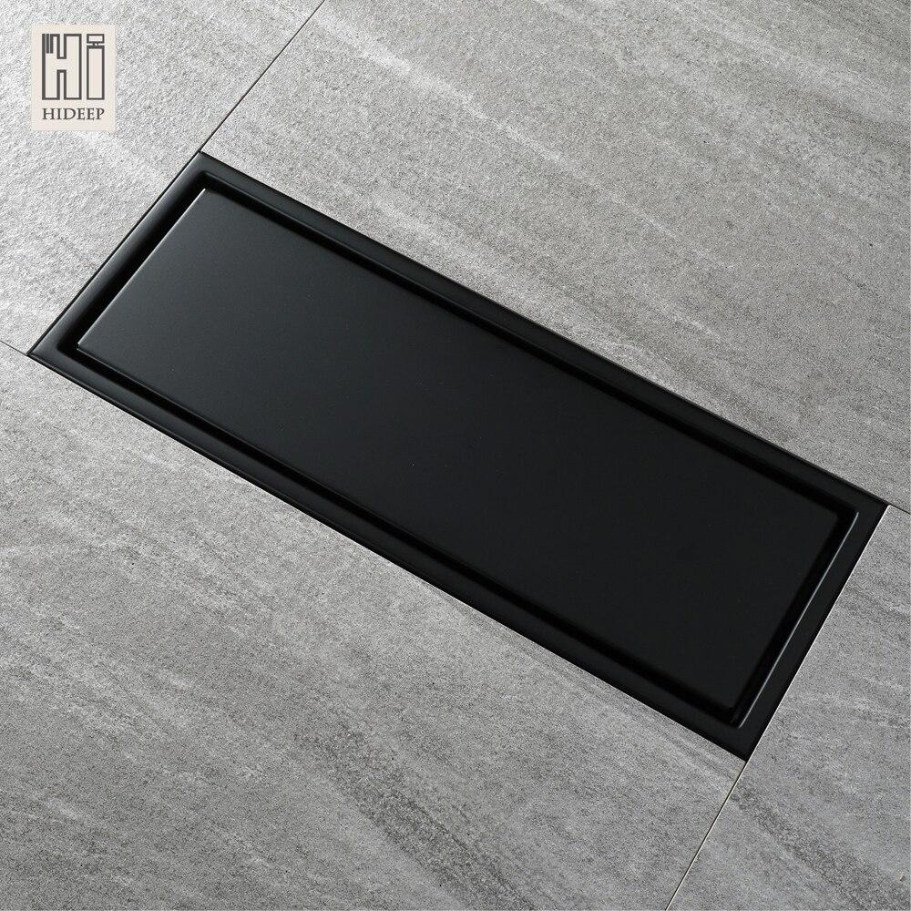 HIDEEP 30X11 Cm Anti-odeur noir-peinture acier inoxydable linéaire Drain de sol salle de bain carrelage insérer douche plancher Drain usine directe