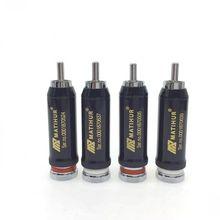Hallo end kupfer Rhodium Überzog RCA stecker lock Löten Audio/Video stecker anschlüsse 4pc