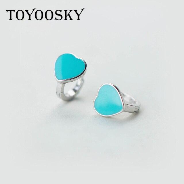 Toyoosky 925 Silver Glue Blue Pink Heart Clip On Earrings Ear Cuffs For Women Fashion Hypoallergenic