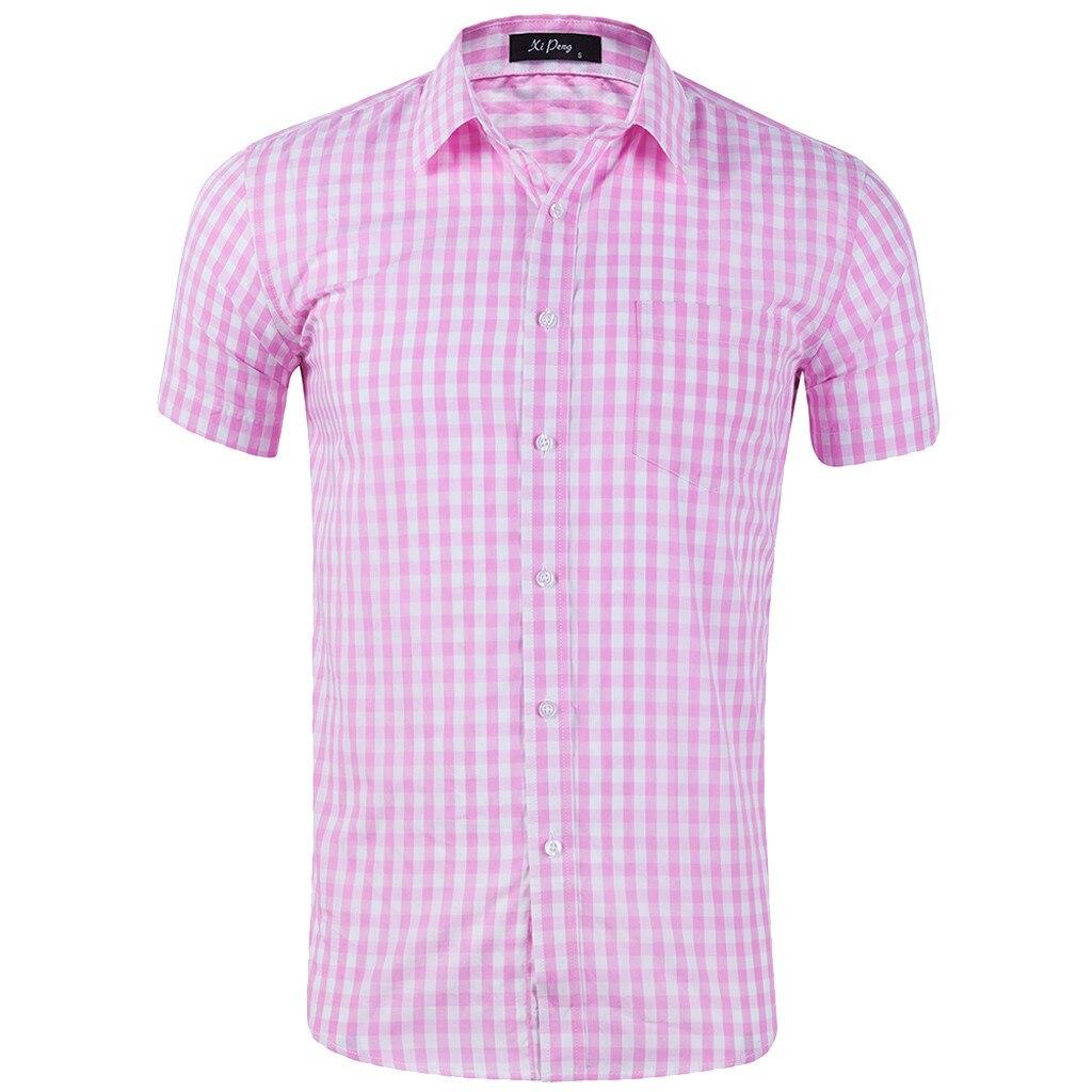 Рубашки Camisas Летняя мужская клетчатая рубашка Повседневная рубашка с коротким рукавом розовая приталенная рубашка высокого качества плюс ...