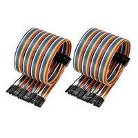 Uxcell 2 шт. 40pin Dupont линии 50 см Цвет Радуга Мужской Женский перемычку Dupont кабель для Arduino DIY XH2.54 40 P ленточный провод