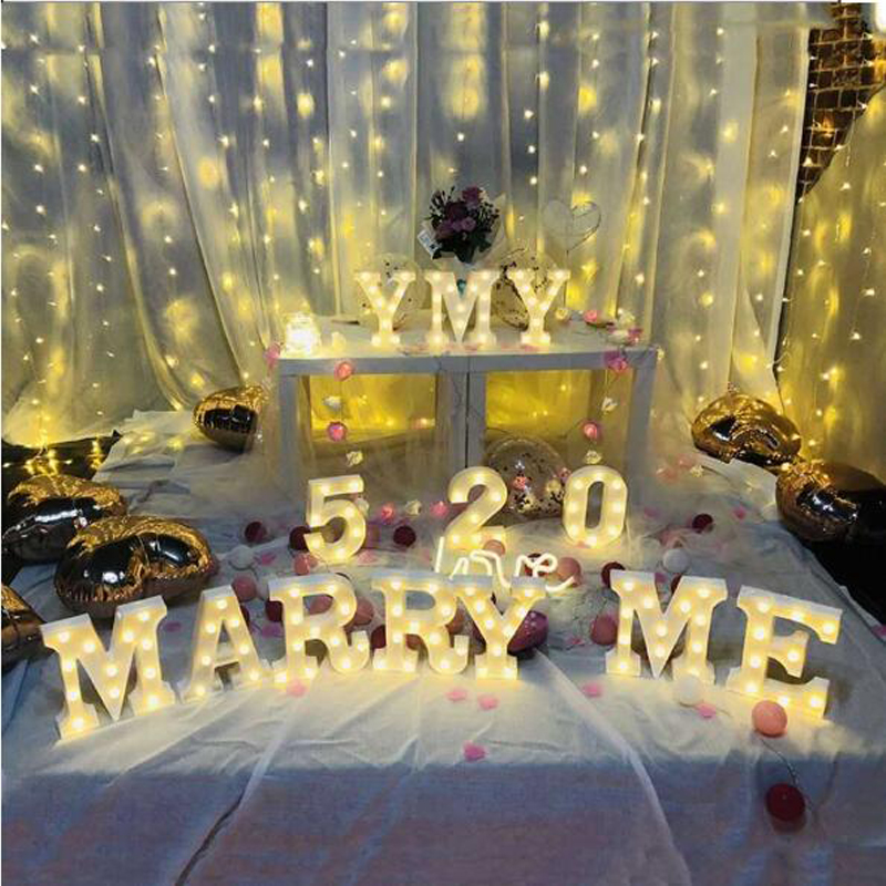 Led Lamps Led Night Lights Digital Letter Led Night Light Marquee Sign Alphabet Lights Lamp Home Club Wall Decor Valentines Day Gift Lamp Battery Powered