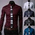 Новый 2016 мужчины премиальный бренд сетки Большой ярдов случайные бизнес рубашки с длинным рукавом моды для Мужчин тонкий отдых с длинными рукавами рубашки