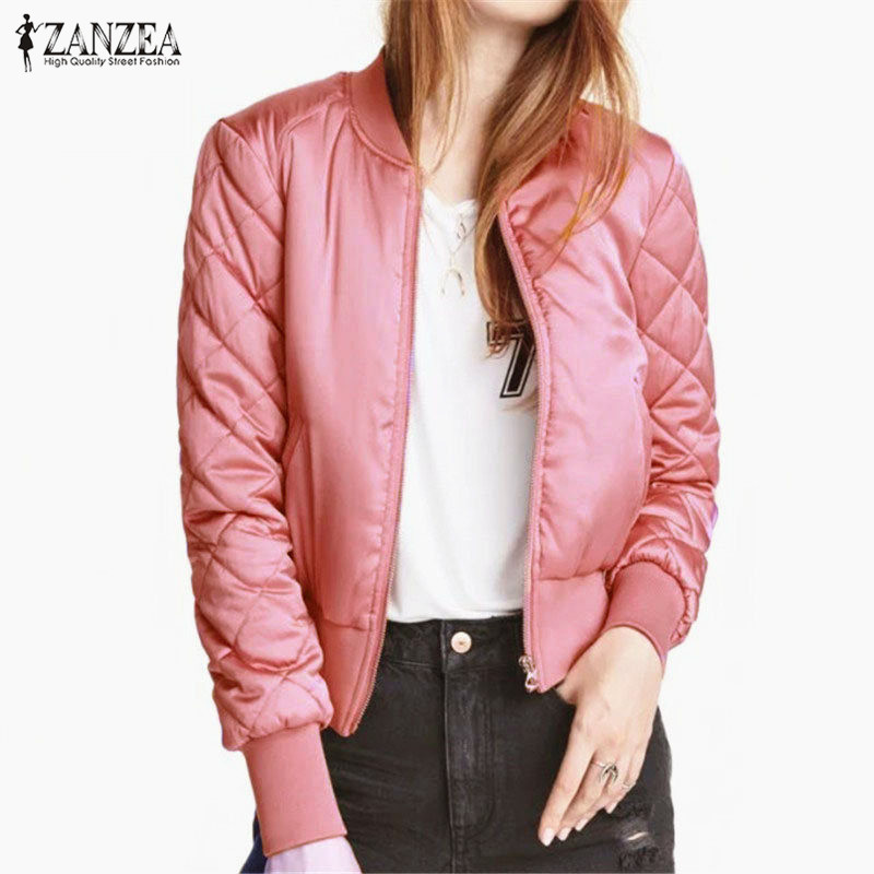 2018 Winter ZANZEA Women Padded Bomber Jackets Stand Collar Zipper Short Basic Coats Long Sleeve Casual Solid Plus Size Outwear
