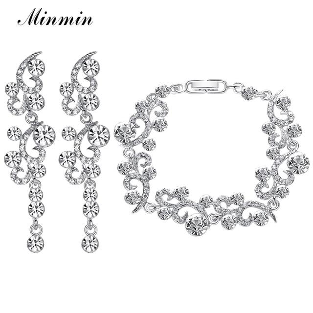 Minmin Elegant Flower Clear Crystal Jewelry Sets For Women Rhinestone Bridal Bracelet Earrings Wedding