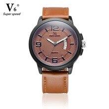 2016 Mens Relojes V6 Marca de Lujo Ocasional de Cuarzo Militar Deportes Reloj de Pulsera Correa de Cuero Hombre Reloj watchrelogio masculino