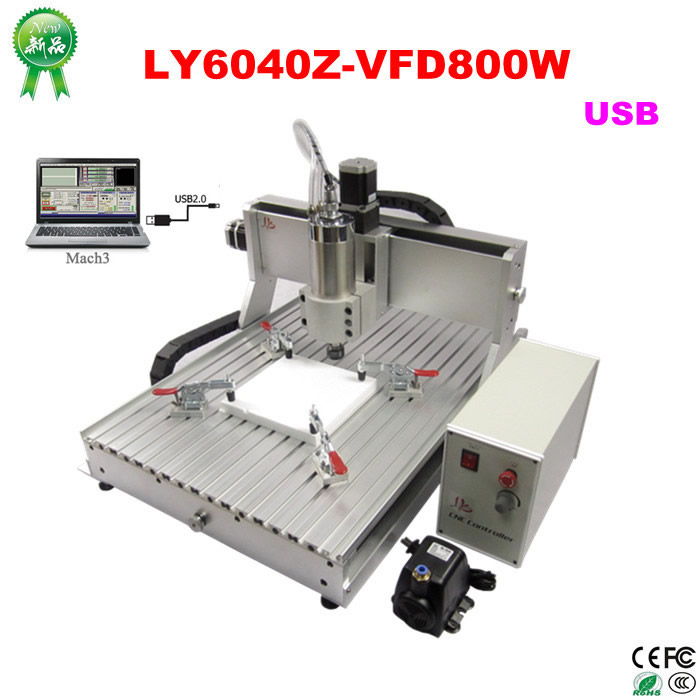 cnc lathe machine LY6040Z-VFD0.8KW USB 3axis CNC router machine cnc milling machine for metal, aluminum wood carving 110 220v 1500w 4 axis metal milling machine cnc 6040 with limit switch for metal wood cutting