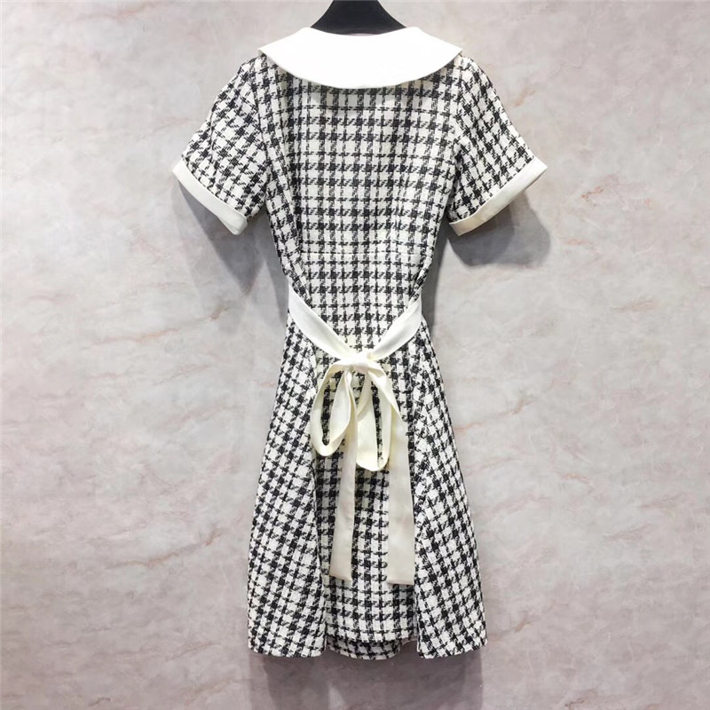 Dress Women Elegant Short Sleeve A-Line Long Dresses Summer Houndstooth Woman Dress 18 4