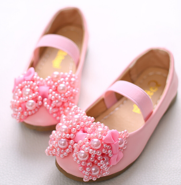 Kids Girls Children Leather Shoes Princess Sandals Wedding Shoes High quality Dress Shoes Party Shoes Pink white