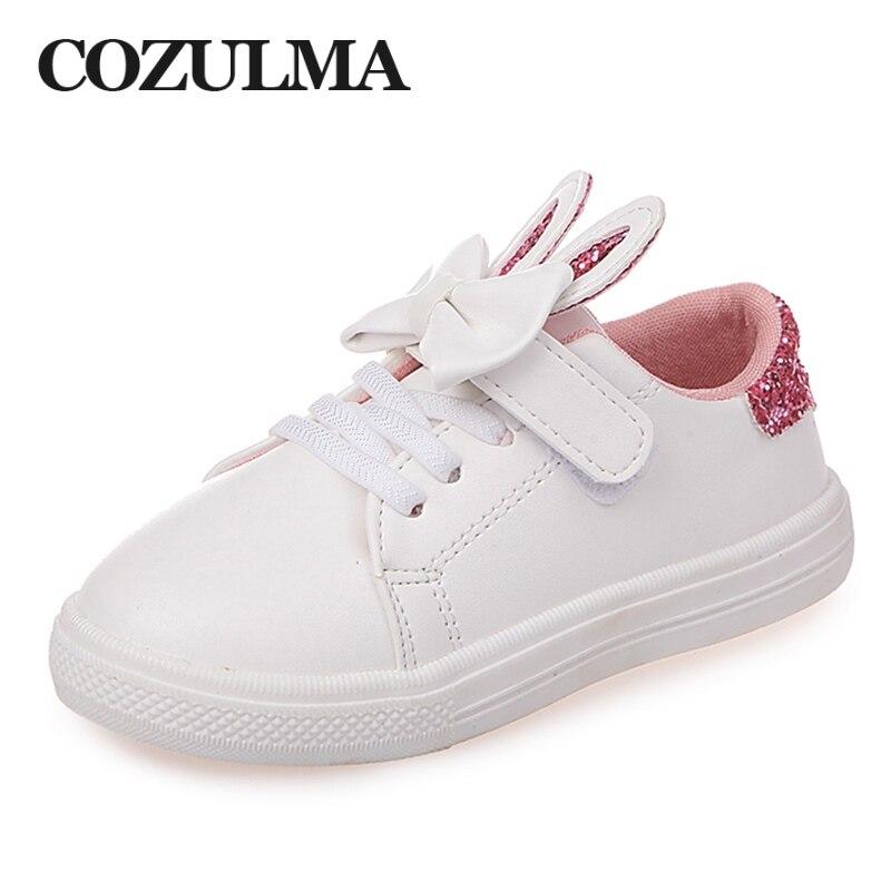 COZULMA Primavera Crianças Sapatilhas Sapatos de Crianças Meninas lantejoulas orelhas de coelho Sapatos Meninas Princesa Arco laço de Sapata Do Esporte Ocasional Ao Ar Livre