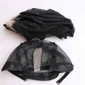 HARMONY Free shipping 10 pieces Black lace net U part wig caps adjustable mesh wig cap for making wigs 1