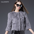 2017 New Style Women Real Fur Natural Rex Rabbit Fur Coat O-Neck Thin Fashion Slim Genuine Rabbit Fur Coat Girls