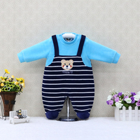 Baby   Long Sleeve Velour   rompers   Striped Button Boys One Piece Sleepwear Girls Clothes Newborn Clothing 2018 Little Q Suits