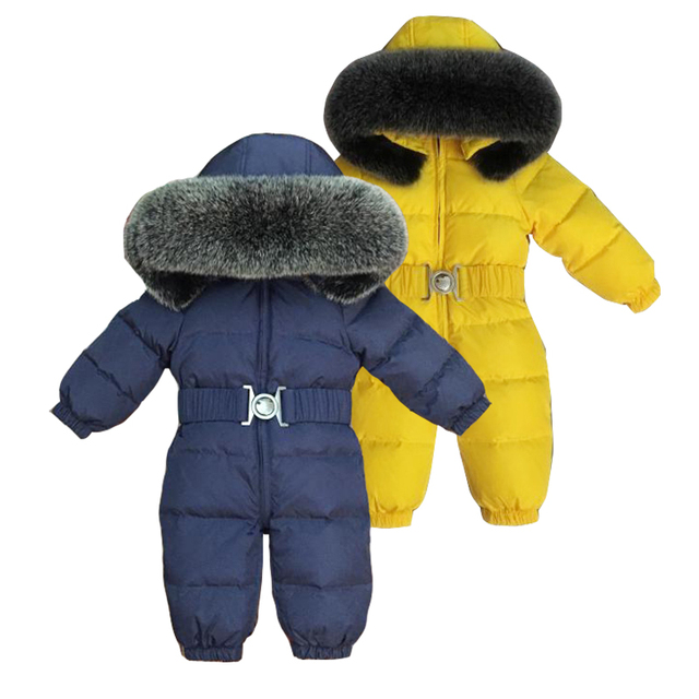 Special Price New Russia Winter Boy And Girls Clothes,90% Duck Down Kids Jumpsuits Hooded Fur Thicken Fashion Navy Snowsuits Infant Jacket