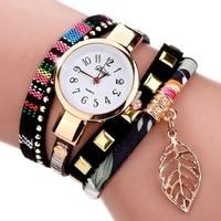 Duoya 2017 fashion ladies watches women dress luxury leaf fabric gold wrist watch for women bracelet.jpg 200x200
