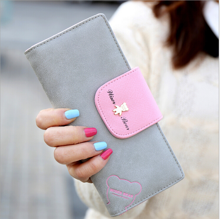 New Women Wallets Cute cartoon bear Lady Purse Fashion Design Clutch Wallet Pu Leather Female Card Holder fashion Bag youyou mouse fashion cute wallet cartoon embroidery pattern retro purse short section pu leather 2 fold multi card bit wallets