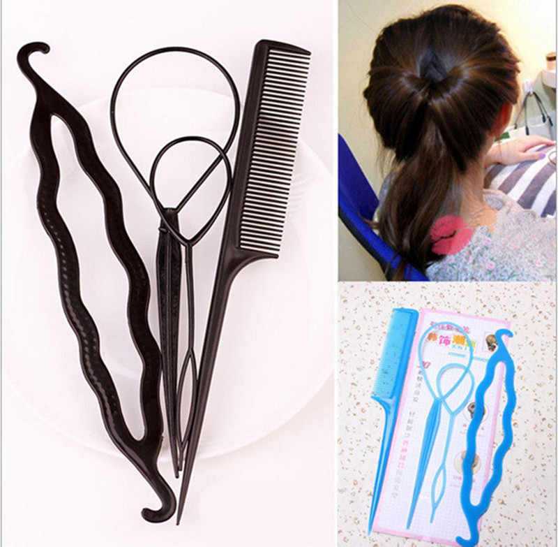 4pcs Ponytail Creator Plastic Loop Styling Tools Pony Tail Clip Hair Braid Comb Maker Styling Tool Fashion Salon