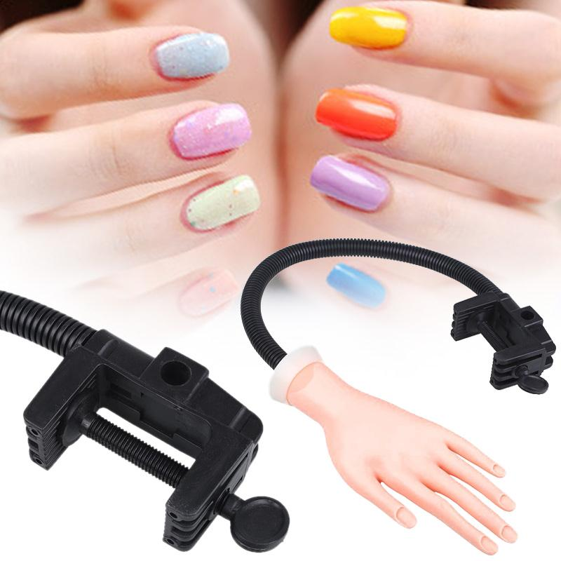 Adjustable Bracket Nail Practice Fake Hand Flexible Soft Plastic ...