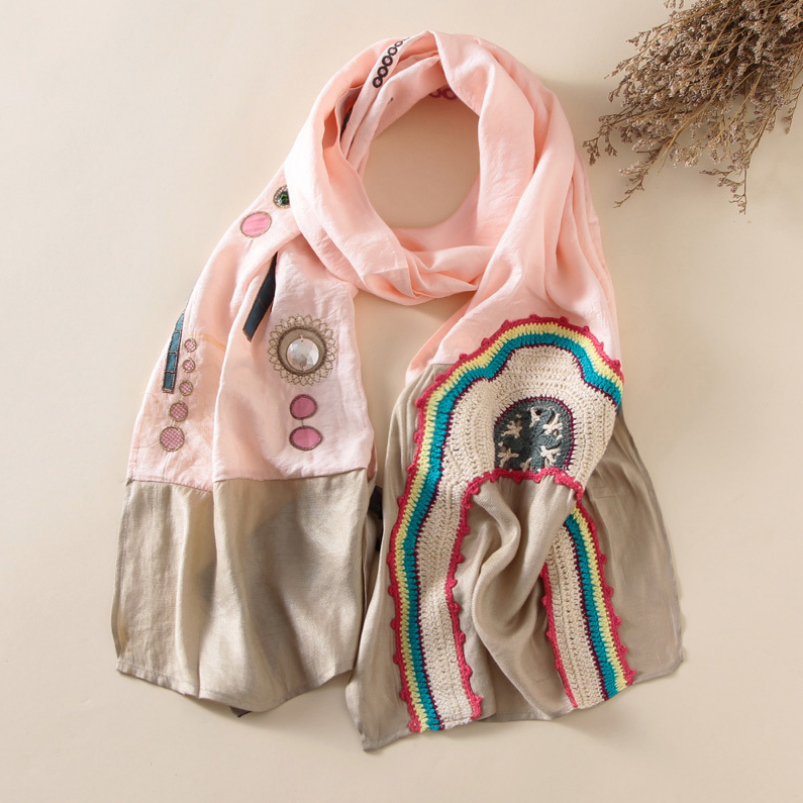 Vintage Nation Style   Scarf   Shawl Women Embroidery   Scarf   Gem Inlay   Scarves     Wraps   175*37cm