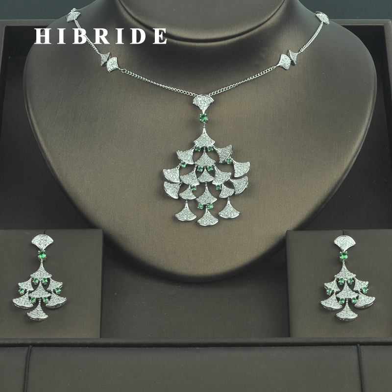 HIBRIDE New Fashion Design Cubic Zirconia Pave Wedding Jewelry Sets For Women Gifts Earring Necklace Set