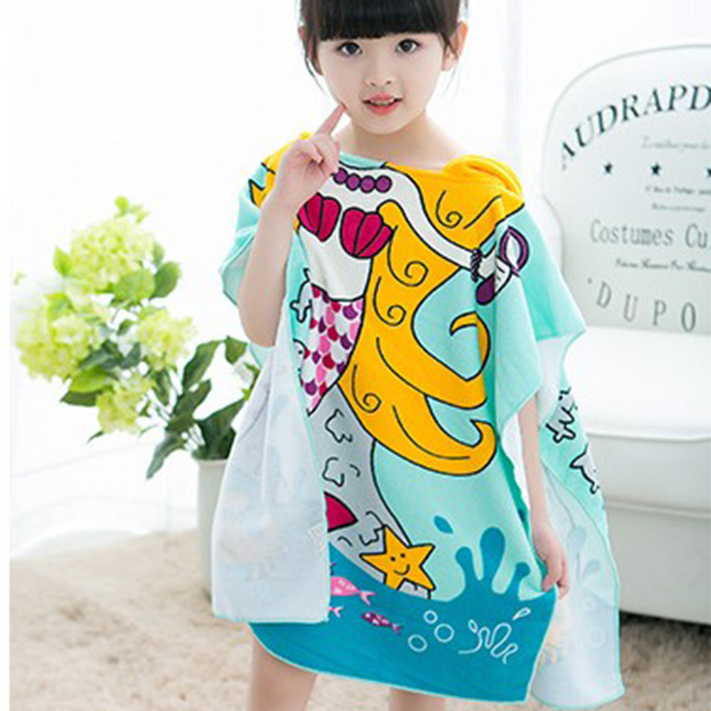 Shark Pattern Beach Towel Kids Hooded Cloak Cartoon Baby Boys Girls Towel Bibulous Towel For Children Serviette De Bain