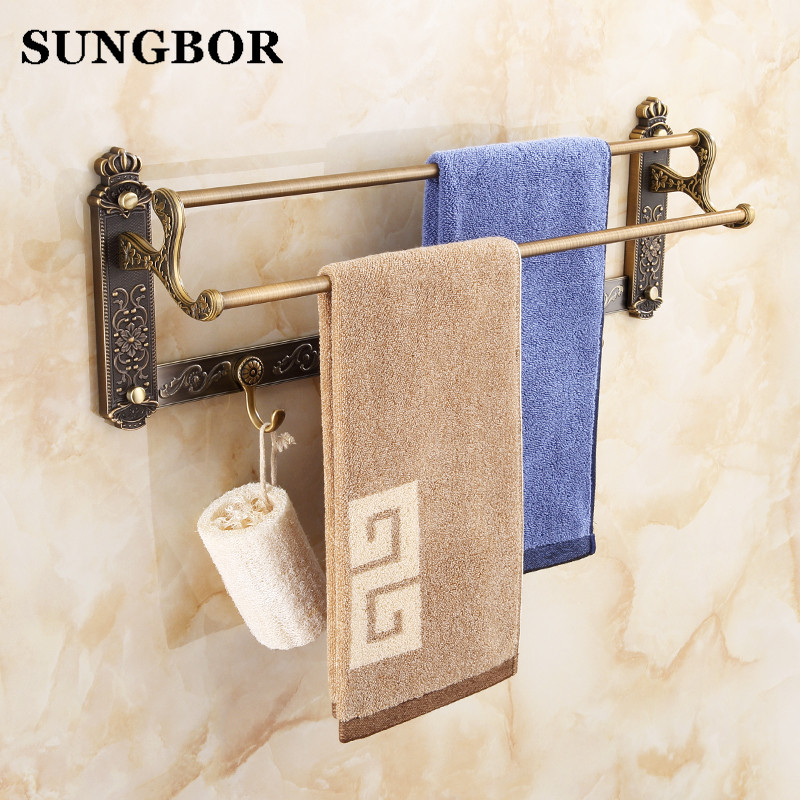 Antique Double Towel Bars towel Holder, Towel rack Solid Brass vintage double bathroom towel holder Bathroom Accessories -1911F free shipping high quality double towel bars elegance concise towel racks towel holder bathroom accessories dual white towel bar