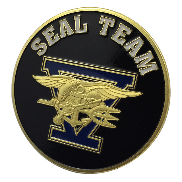New Us Navy Seal Team Five Gold Plated Challenge Coin Badgemedal