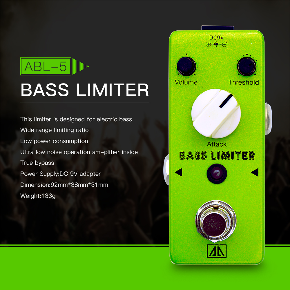 AROMA ABL-5 Mini Bass Limiter Electric Bass Guitar Effect Pedal Aluminum Alloy Body True Bypass aroma tom sline abr 3 mini booster electric guitar effect pedal with aluminum alloy housing true bypass durable guitar parts