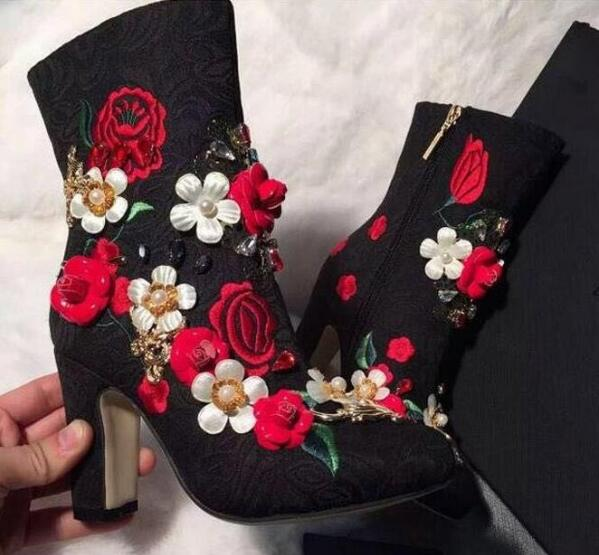 2017 Spring Autumn fashion booties red/white pearls decoration flower shoes with embroidery short boots 12 cm chunky heels black