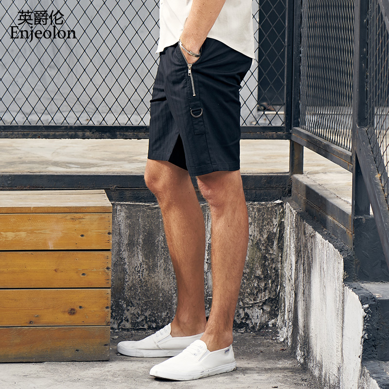 Enjeolon Top 2019 Summer Casual Shorts Men Cotton Sim Solid Color Shorts Available Knee Length High Quality K6280