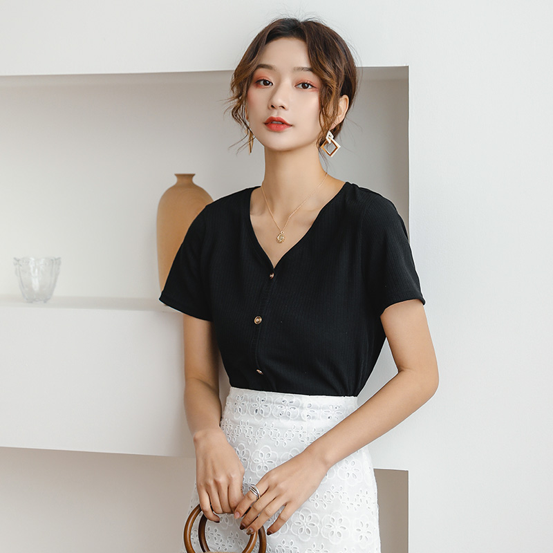 ZINMIN V-Neck Cotton Basic T-shirt Women Plain Simple White Office Lady Button Knitted Pullovers Tee Lady Workwear Women Tshirt