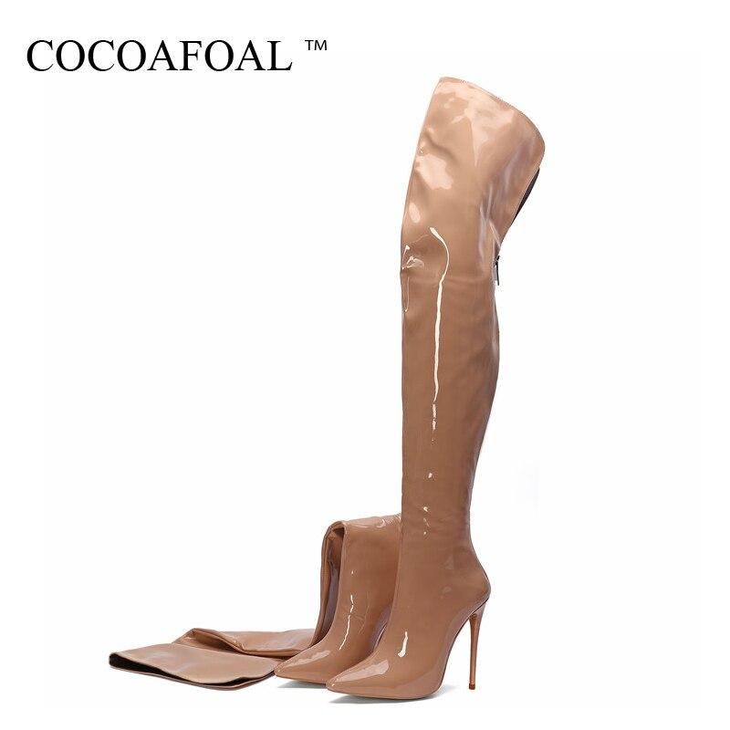 COCOAFOAL Sexy femmes bottes sur le genou femme cuir verni bottes hautes grande taille mode sur le genou bottes cuissardes