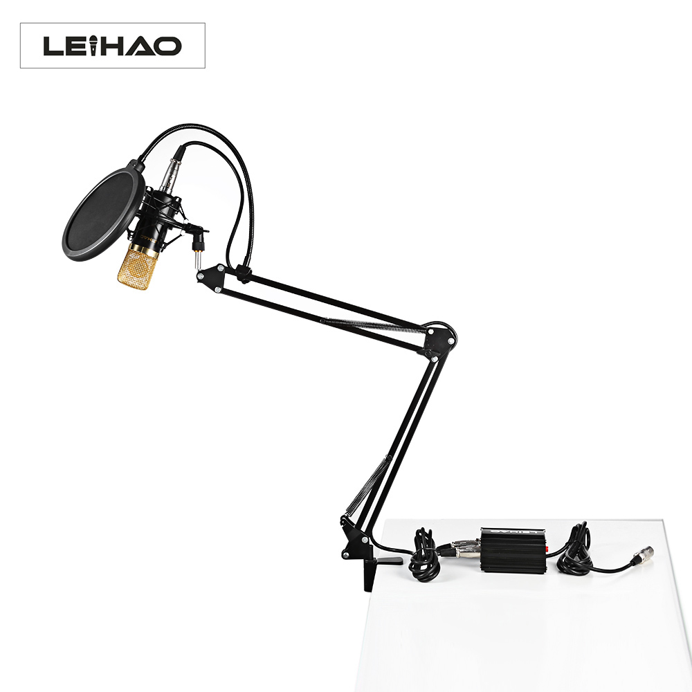 Original LEIHAO BM-700 Dynamic Condenser Sound Recording Microphone with Shock Mount for Radio Braodcasting KTV Karaoke 3 5mm jack audio condenser microphone mic studio sound recording wired microfone with stand for radio braodcasting singing