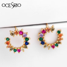 OCESRIO Sweet Rainbow Flower Earrings Gold Fashion Tiny CZ Party Earrings for Women 2019 Colorful Jewelry ers-q04(China)