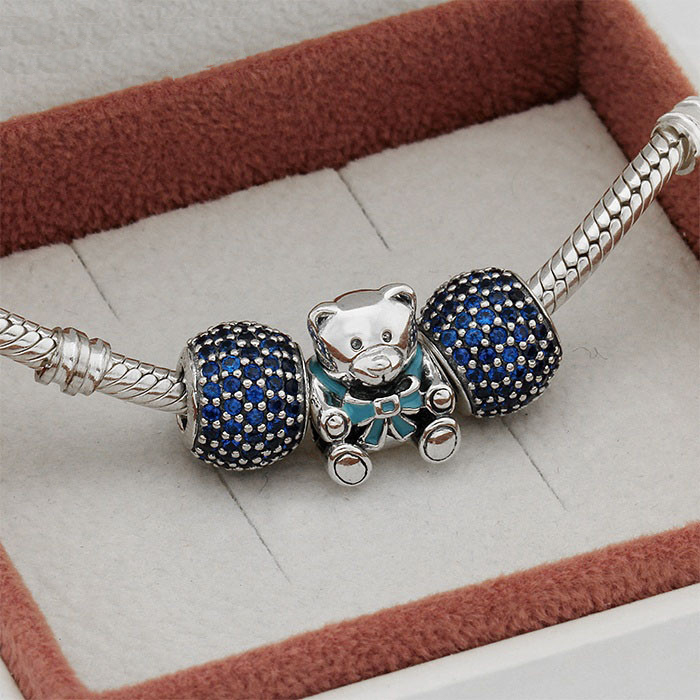 Fit European Charms Bracelet 925 Sterling Silver Charm Sets Sparkling Lovely Bear Charms for Women & Men Jewelry