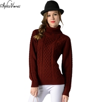 Autumn Winter 2017 New Turtleneck Thick Warm Long Sweater Knitted Women Pullovers Vintage Sweater 6 Colors