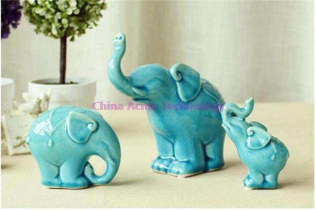 US $59 99 |Modern Pottery A set Statuette Ceramic Elephant Family three  Porcelain Elephants As Ceramic decoration Or Ornaments two colors on