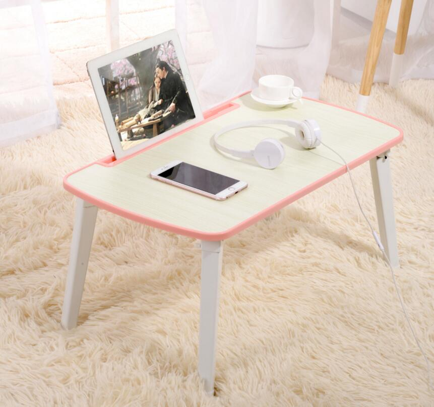 Foldable Laptop Table Desk Bed Dormitory Lounges Simple Collapsible Study Desk Dormitory Small Table With Card Slot SE27