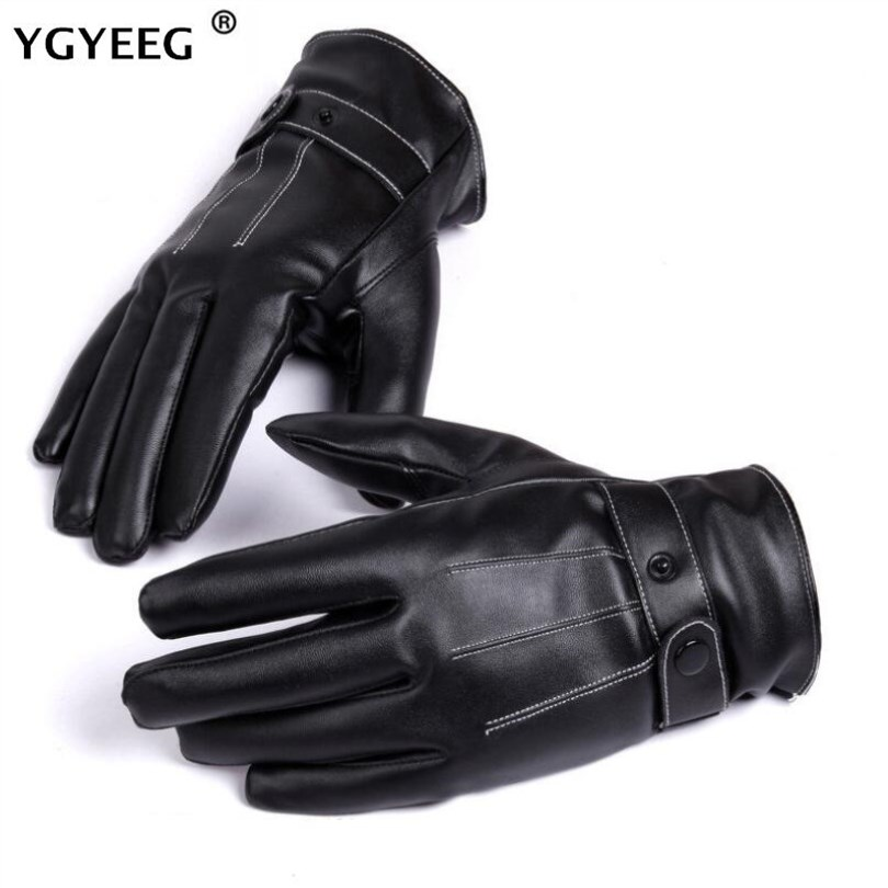 YGYEEG Winter Warm Men's Leather Gloves Black Touched Screen Glove For Men Fashion Winter Warm Mittens Full Finger Handschuhe