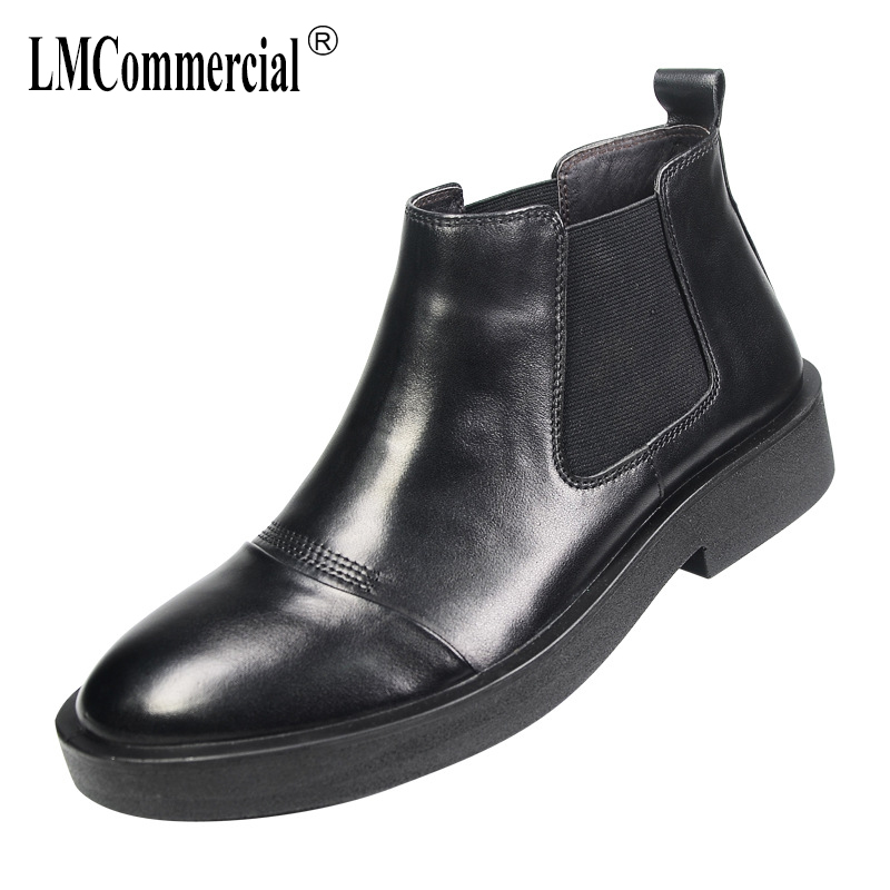 men's casual leather Martin shoes autumn winter all-match cowhide Chelsea boots men breathable snow boots male high-top shoes warm winter high shoes male young men leisure shoes martin boots men cowhide cashmere zipper leather boots breathable