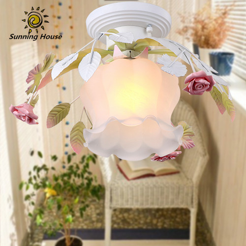 Led Flower Glass ceiling lights for living room Bedroom Kids room luminarias para teto home ceiling decorate modern ceiling lamp fashion design of kids room lamp nordic dome light 3 5 heads ceiling lights for home decorate