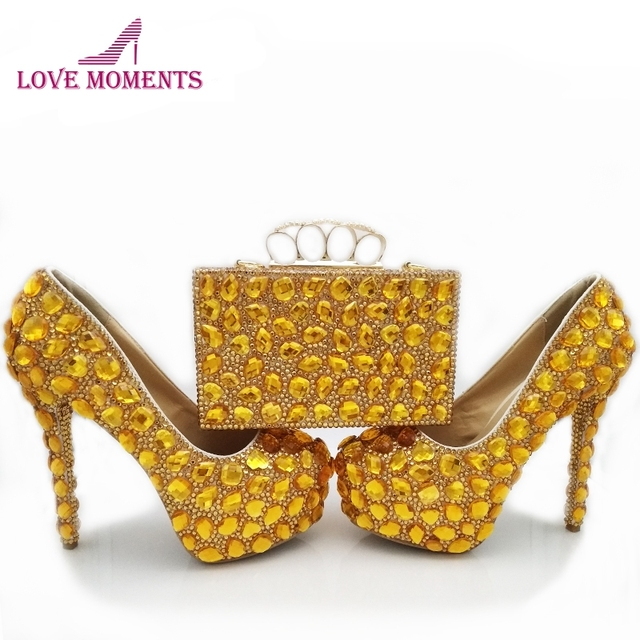 Luxurious Model Bridal Rhinestone Shoes with Matching Clutch Gold Crystal Wedding Shoes with Bag Fashion Platform Stiletto Heel