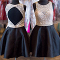 Gorgeous Black Stain Beading Crystals Homecoming Dresses 2016 Sexy Open Back Rhinestone Short Cocktail Dresses For Prom Party