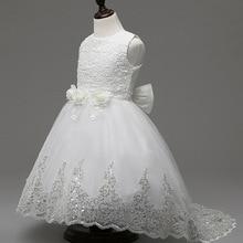 Новый Европейский стиль роскошные девушки марка платье для девочек 2-12 год дети качество цветочница хвост розовый, красный белый платье b 200163