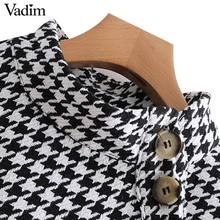 Vadim women stylish plaid loose blouses Houndstooth tassel patchwork buttons long sleeve shirts ladies retro tops blusas LA328