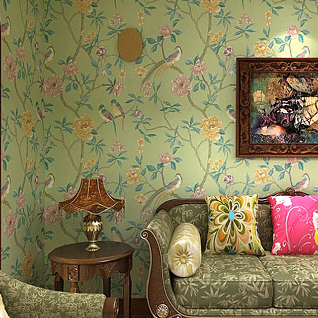 Blue Yellow Green Red Chinoiserie Birds Tree Flower Wallpaper Roll Vintage Floral Wall Paper