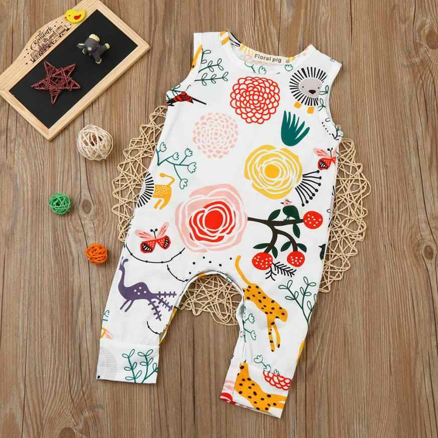 Newborn Baby Boys Girls Flower Animal Delicate Print Romper Jumpsuit Outfits Clothes Photography skin-friendly August 14
