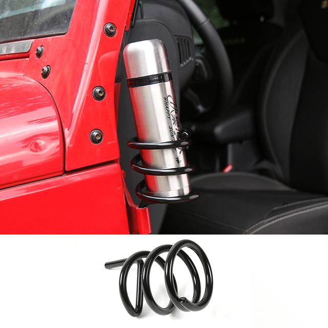 Nueva Primavera Forma de Puerta de Coche Del Automóvil Soporte Portavasos Portavasos Sostenedor de la Bebida de Agua de Metal para Jeep Wrangler 07 +