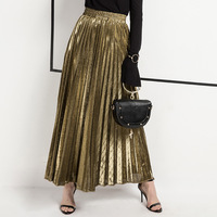 spring summer women fashion skirt long pleated solid color high waist ankle length ladies skirts chic gold casual party skirt